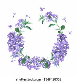 Lilac flower wreath illustration