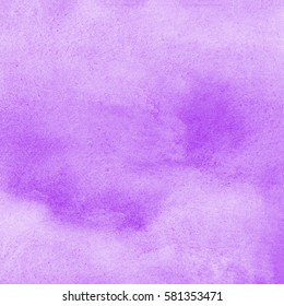 Lilac, lavender watercolor stains Easter background. Light pastel colors. Soft violet, purple. Watercolour square template for card, poster, banner design. Colourful texture.