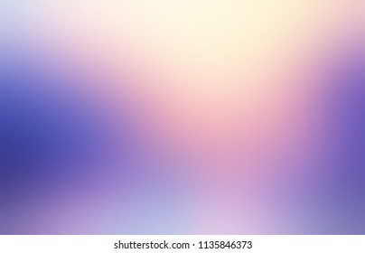 Lilac ombre pattern. Iridescent light abstract blurred texture. Violet, magenta, pink, blue empty background. Fantasy defocused illustration. Delicate fairy glow. Golden light from top.