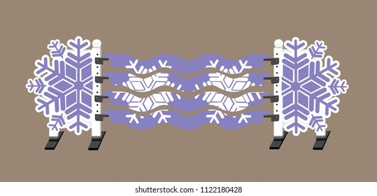 Lilac purple and white horse show jump with snowflake jump standards and wavy planks with snowflakes on them.