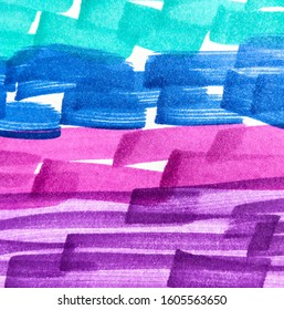 Lilac Red Paintbrush Hipster Marker Stripes. Brown Forest Rainbow Hand Drawn Stroke. Hot Pink Shibori Grunge Lines. Fuchsia Energetic Positive Marker Stripes Backdrop.