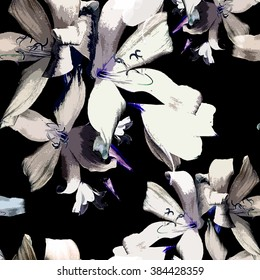 Lilies flower pattern,seamless,on black