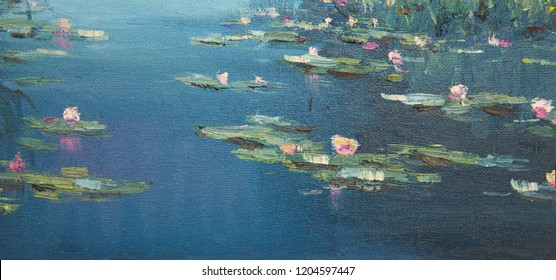 Lilies on the water oil on canvas