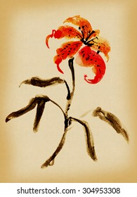 Lilium tigrinum, lily. Picture in east style