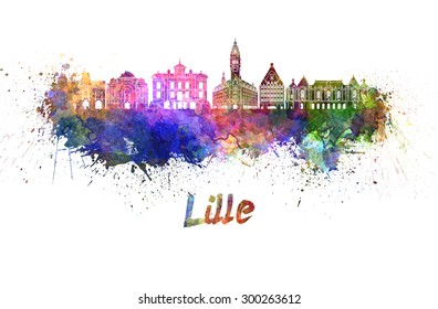 Lille skyline in watercolor splatters with clipping path