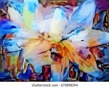 Lily. Designed in a modern style of watercolor painting. Oil on canvas with imitation pastels.