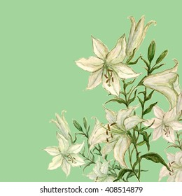 lily flower watercolor background-2