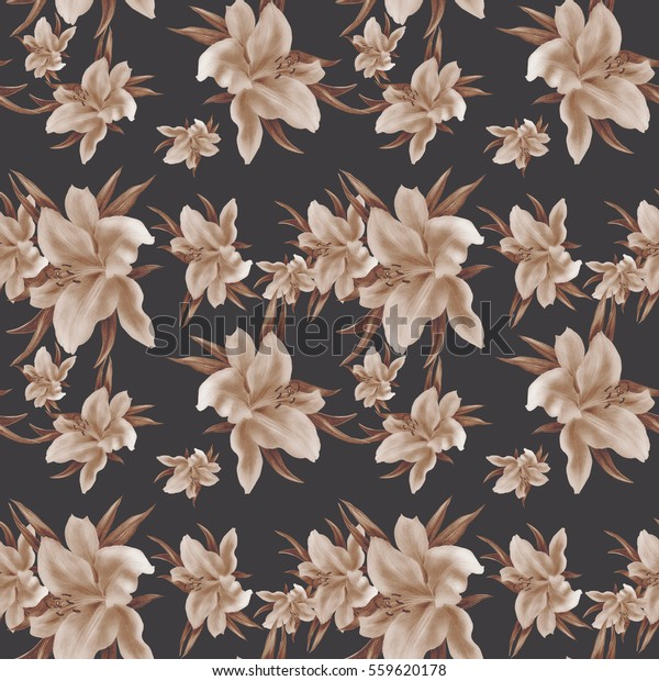 Lily Flowers Wallpaper Drawing Pastel Seamless Stock