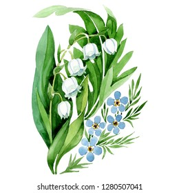 Lily of the valley bouquet. Floral botanical flower. Wild spring leaf wildflower. Watercolor background set. Watercolour drawing fashion aquarelle. Isolated forget me not illustration element.