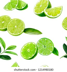 Lime fruit seamless watercolor pattern. Hand draw illustration.
