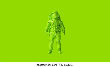 Lime Green Spaceman Astronaut Cosmonaut 3d illustration 3d render