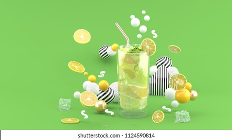 Lime juice surrounded by lemon and colorful balls on green background.-3d rendering.