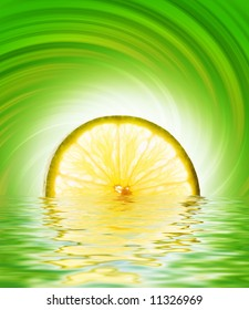 Lime slice in rendered water