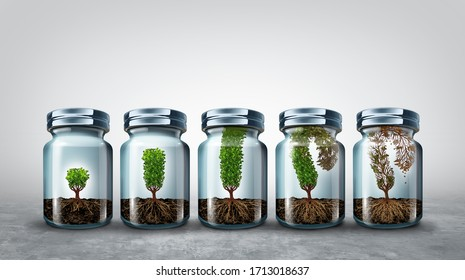 Limits of growth business concept as an economic or psychology symbol for growing limitations or finite resources with 3D render elements.