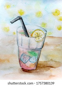 i limonom, risunok akvarel'.  Illustration of a glass with a drink with ice, with a straw and lemon, watercolor drawing.
