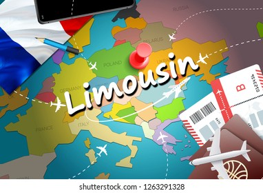 Limousin city travel and tourism destination concept. France flag and Limousin city on map. France travel concept map background. Tickets Planes and flights to Limousin holidays French vacation