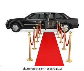 Limousine Car with a Red Carpet Isolated. 3D rendering