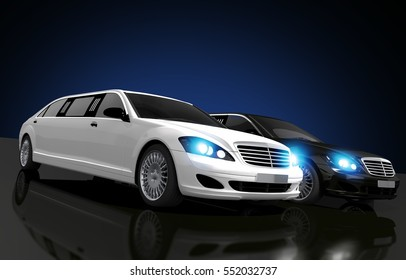 Limousines For Hire Conceptual 3D Rendered Illustration. Two Limousines, Black and White on a Glassy Floor.