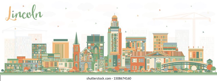 Lincoln Nebraska City Skyline with Color Buildings. Business Travel and Tourism Concept with Historic Architecture. Lincoln USA Cityscape with Landmarks.