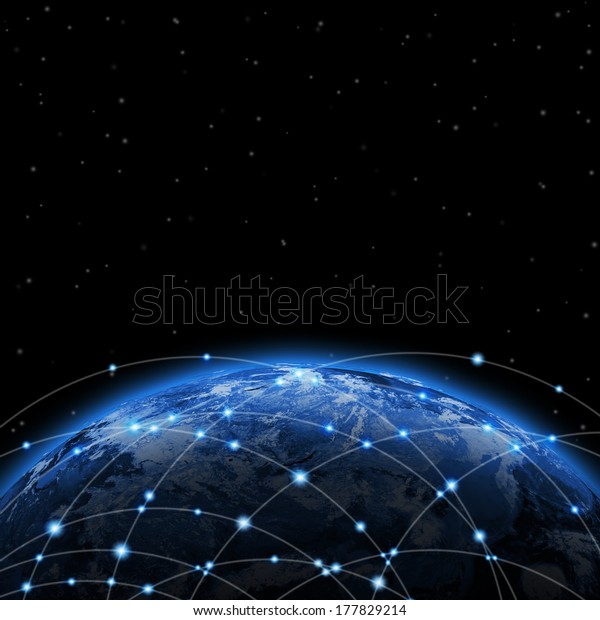 Linie um die Erde. Das Konzept der Globalisierung