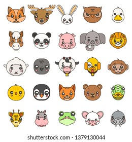 Line art animals cute baby cartoon cubs flat head design icons set character  illustration