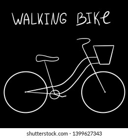 Line art bicycle on black background with lettering: walking bike with a basket.