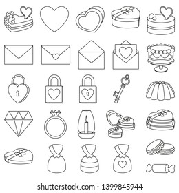 Line art black and white 26 valentine elements. Romantic date invitation decor. Love themed illustration for icon, stamp, label, certificate, brochure, gift card, poster or banner decoration