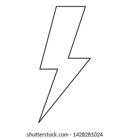Line art black and white energy symbol. Power thunder. Electricity themed illustration for icon, stamp, label, certificate, brochure, gift card, poster, coupon or banner background decoration