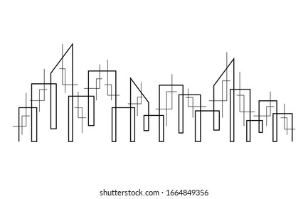 Line art. The city is drawn in a solid line on a white background.