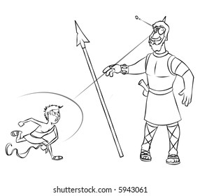 Line art of the classic Bible story of David versus Goliath.