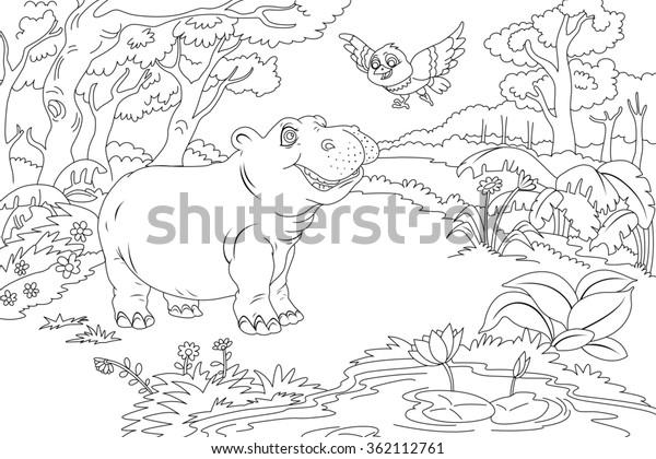 Line Art Coloring Book Illustration Children Stock