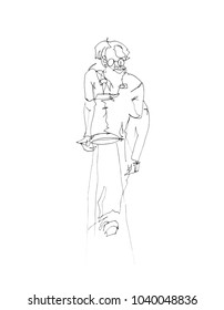 A line art drawing of a woman figure standing on a stool.