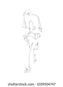 A line art drawing of a young man in a standing pose.