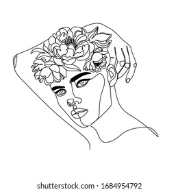line art flower women abstract face female. Portrait minimalistic style. Modern continuous line art. Fashion print. Flower with woman