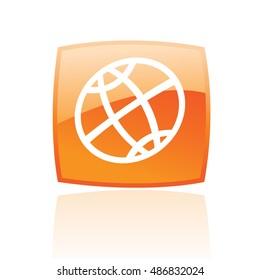 Line art globe in orange button isolated on white