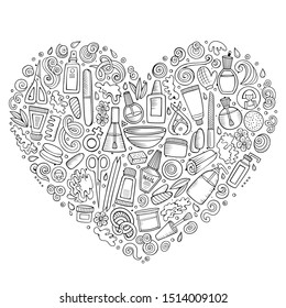 Line art hand drawn set of Manicure cartoon doodle objects, symbols and items. Heart form composition