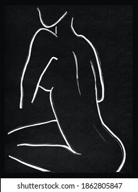 Line art modern woman illustration figurative fine art hand drawing