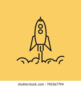 Line art rising up rocket with clouds of smoke. Startup business concept. Isolated web outline icon on yellow background