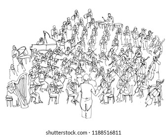 line art sketch of an orchestra playing