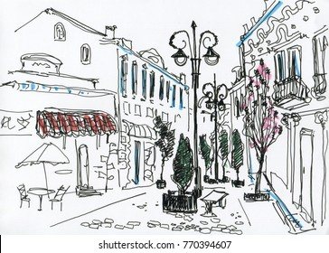 Line art. Sketch. Street with cafes in the old city