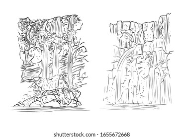 line art of waterfalls in black and white