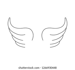 Line art wings on white background