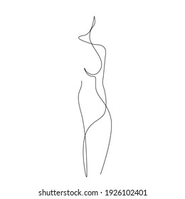 Line Art Woman Body. Minimalistic Black Lines Drawing. Female Figure Continuous One Line Abstract Drawing. Modern Scandinavian Design. Naked Body Art. Raster copy