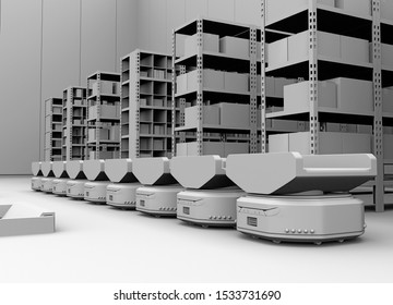 Line of  Autonomous Mobile Robots in modern warehouse. 3D clay rendering image.
