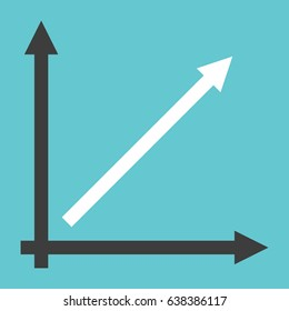 Line chart showing direct proportionality with two coordinate axes on turquoise blue background. Linear growth, analysis and success concept. Flat design