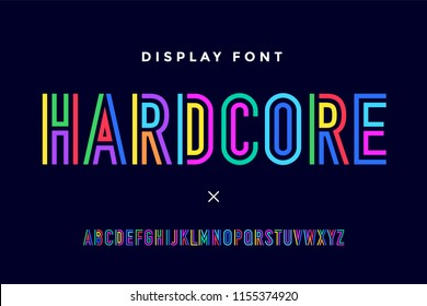 Line condensed alphabet and font. Colorful uppercase outline letters. Type, typography letter line font in coloured rainbow style. Hand-drawn modern narrow line font for headline. Illustration