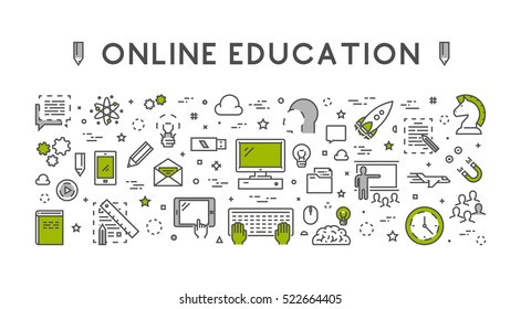 Line design concept for online education and e-learning. Landing page. Black and green.