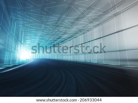 Line Draw Framed Tunnel Racetrack Motion Stock Illustration