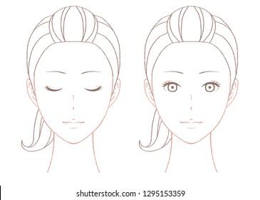 Line drawing of beautiful woman portrait
