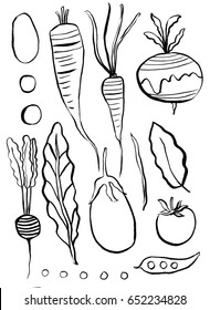 Line Drawing Black and White of Vegetables
